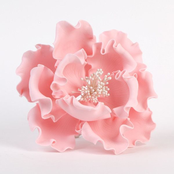 "Gumpaste Flowers For Wedding Cakes: 6"" Extra Large Peonies - Pink"