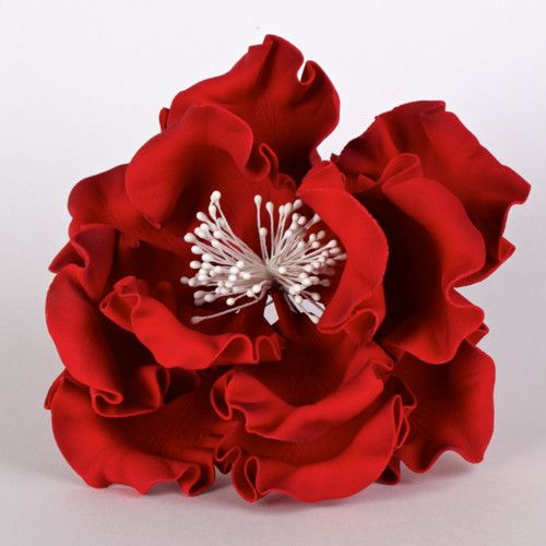 "Red Gumpaste Extra Large Peony sugarflower cake toppers perfect for cake decorating rolled fondant wedding cakes and birthday cakes.  Wholesale cake supply.  Extra Large 6"" Peonies - Red"