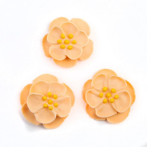 Dainty Bess Tea Rose Royal Icing Decorations - Peach