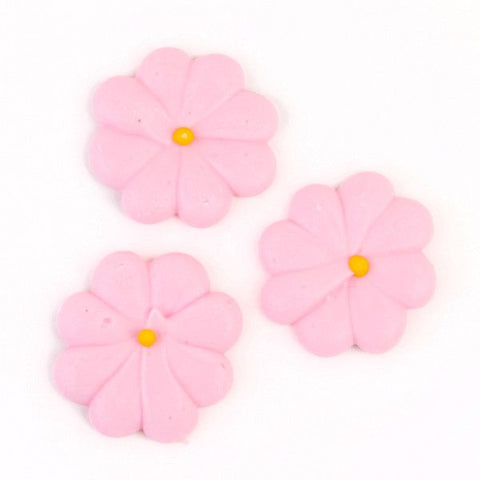 Medium Flower Power Royal Icing Decorations - Pink