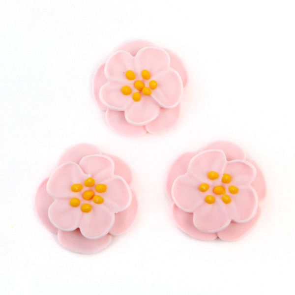 Dainty Bess Tea Rose Royal Icing Decorations - Pink