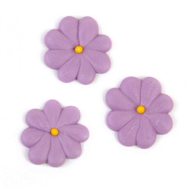 Medium Flower Power Royal Icing Decorations - Lavender