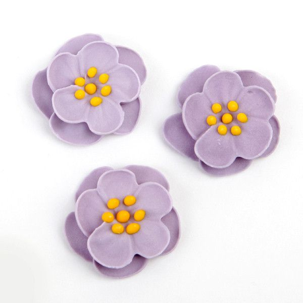 Dainty Bess Tea Rose Royal Icing Decorations - Lavender