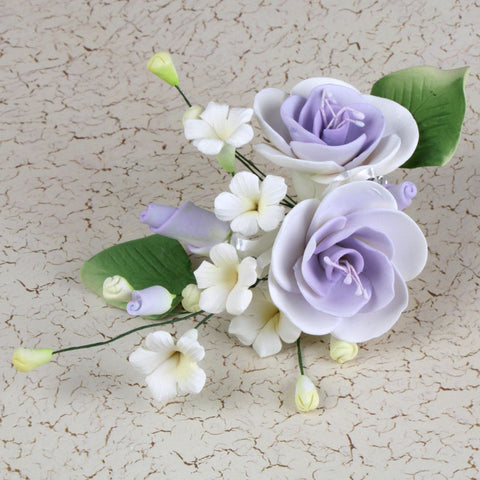 Lavender Gumpaste Dog Rose Spray Cake Decoration perfect for cake decorating rolled fondant wedding cakes, buttercream birthday cakes, & cupcakes.  Wholesale cake decorations & cake decorating supply. Caljava