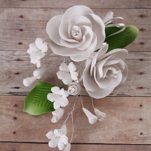 White Gumpaste Dog Rose Spray Cake Decoration perfect for cake decorating rolled fondant wedding cakes, buttercream birthday cakes, & cupcakes.  Wholesale cake decorations & cake decorating supply. Caljava