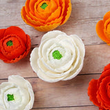 Mixed color Gumpaste Ranunculus sugarflower handmade cake decoration perfect as a cake topper for cake decorating fondant cakes.  Wholesale sugarflowers and bakery supply.