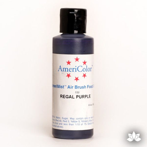 Regal Purple AmeriMist Air Brush Color 4.5 oz is a highly concentrated air brush color perfect for coloring non-dairy whipped icing, toppings, rolled fondant, gum paste flowers, and buttercream. Wholesale edible air brush color.