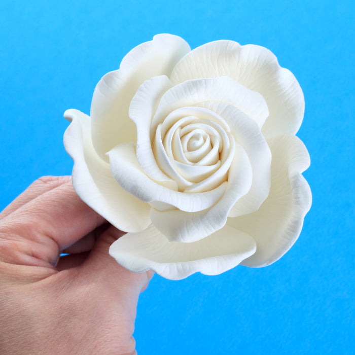 White Rose Sugar Flower Cake Topper for cake decorating your own cakes and wedding cakes.  Handmade cake decor for bakeries. Caljava