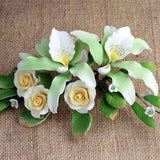 Rose and Miltonia Orchid Gumpaste Cake Topper perfect for cake decorating fondant wedding cakes and fondant birthday cakes