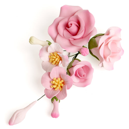 Pink Rose gumpaste sugarflower cake decoration perfect as a cake topper for cake decorating fondant cakes and wedding cakes.  Wholesale sugarflowers.