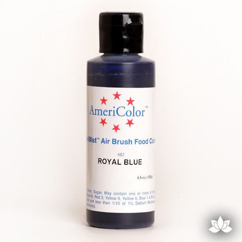 Royal Blue AmeriMist Air Brush Color 4.5 oz is a highly concentrated air brush color perfect for coloring non-dairy whipped icing, toppings, rolled fondant, gum paste flowers, and buttercream. Wholesale edible air brush color.