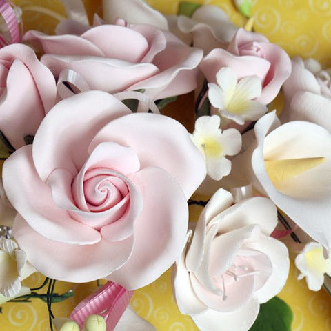 Large Tea Rose & Calla Lily Sprays - Pink