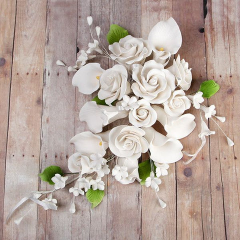 Gumpaste Rose & Calla Lily sugarflower cake topper perfect for cake decorating fondant cakes & wedding cakes. Wholesale sugarflower cake decoration.