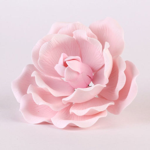 Large Pink Full Bloom Gum paste rose cake topper and cake decoration perfect for cake decorating a rolled fondant wedding cake or rolled fondant birthday cake.  Wholesale cake decoration supplies.