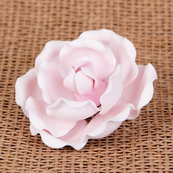 Medium Pink Full Bloom Gum paste rose cake topper and cake decoration perfect for cake decorating a rolled fondant wedding cake or rolled fondant birthday cake.  Wholesale cake decoration supplies.