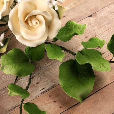 Gumpaste Rose Leaves Sugarflowers perfect for cake decorating fondant cakes & to pair with gumpaste rose sugarflower cake decorations. Wholesale cake supply.