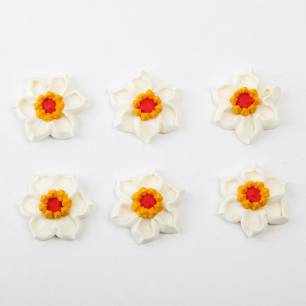 Daffodil Royal Icing Decorations - White