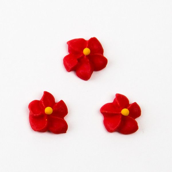 Small Royal Icing Drop Flowers Red Caljavaonline