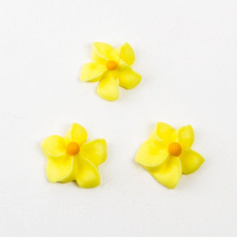Small Royal Icing Drop Flowers - Yellow