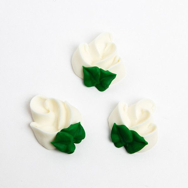 Rosebud Royal Icing Decorations - White