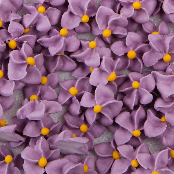 Small Royal Icing Drop Flowers - Lavender