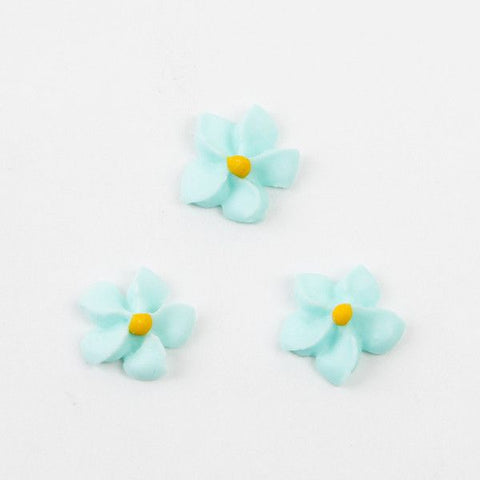 Small Royal Icing Drop Flowers - Light Blue