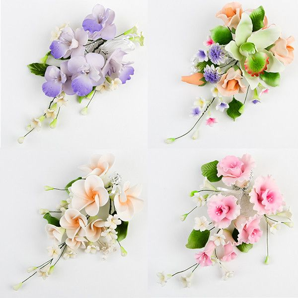 4 Large Mix Sprays are gumpaste sugarflower cake decorations perfect as cake toppers for cake decorating fondant cakes and wedding cakes. Caljava wholesale cake supply.