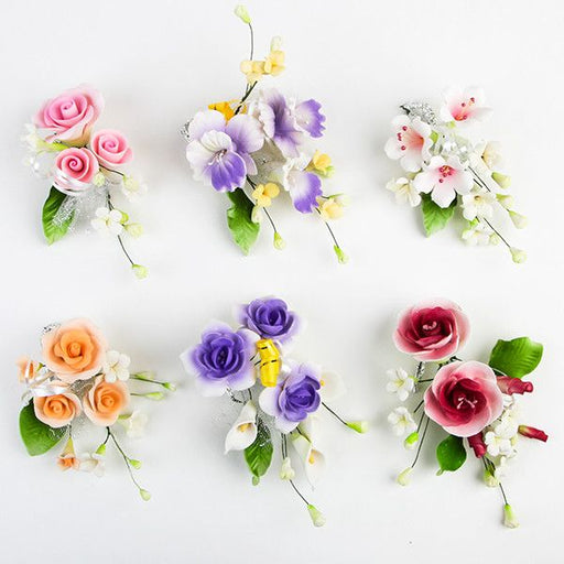 6 Small Mix Sprays are gumpaste sugarflower cake decorations perfect as cake toppers for cake decorating fondant cakes and wedding cakes. Caljava wholesale cake supply.