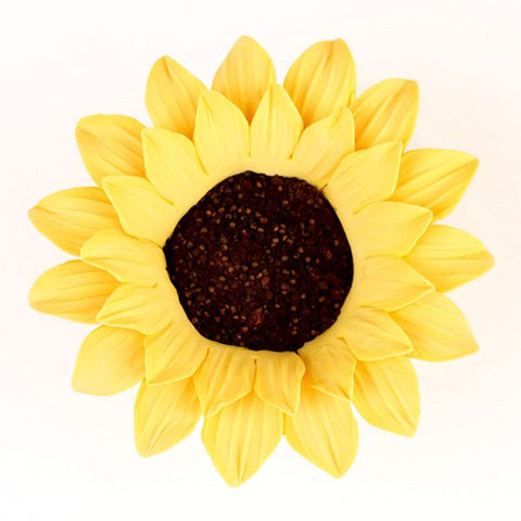 Large Sunflowers are gumpaste sugarflower cake decorations perfect as cake toppers for cake decorating fondant cakes and wedding cakes. Caljava wholesale cake supply.