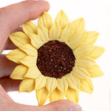 Medium Sunflowers are gumpaste sugarflower cake decorations perfect as cake toppers for cake decorating fondant cakes and wedding cakes. Caljava wholesale cake supply.