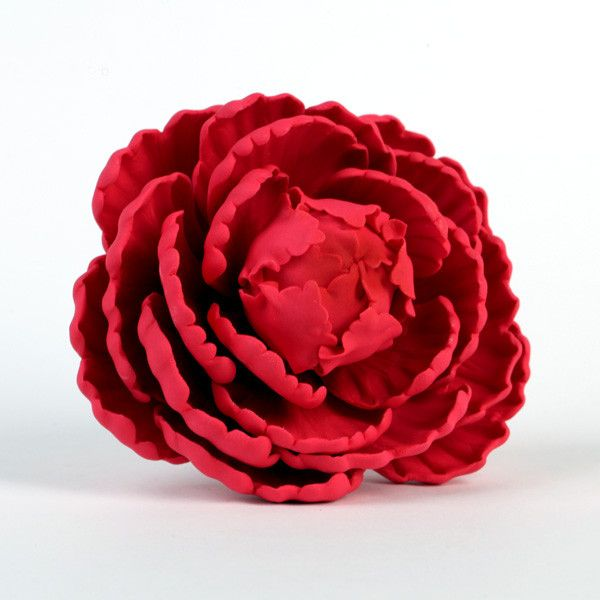 Red Closed Gumpaste Peony sugarflower cake toppers perfect for cake decorating rolled fondant wedding cakes and birthday cakes.  Large white closed gumpaste peony handmade cake decoration. Wholesale sugarflower. Gumpaste flower. Cake Topper. Caljava