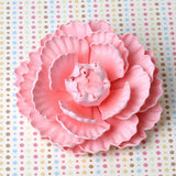 Pink Closed Gumpaste Peony sugarflower cake toppers perfect for cake decorating rolled fondant wedding cakes and birthday cakes.  Wholesale Cake Supply. Large pink ombre closed gumpaste peony handmade cake decoration.  Gumpaste flower. Caljava