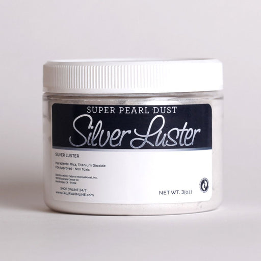 Silver Luster Dust 3 oz food coloring for cake decorating cakes and cupcakes.  Add a shiny sheen to any of your edible creations with super pearl luster dust.  The most popular luster dust color.