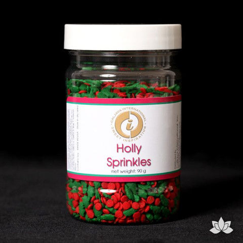 Decorate your cupcakes & cakes with Christmas Confetti Sprinkles. Edible sprinkle cupcake decorations that complete edible cake creation for any cake decorator. Christmas Holly Sprinkles. Wholesale cake supply. Caljava