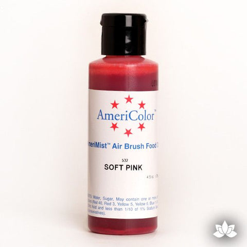 Soft Pink AmeriMist Air Brush Color 4.5 oz is a highly concentrated air brush color perfect for coloring non-dairy whipped icing, toppings, rolled fondant, gum paste flowers, and buttercream. Wholesale edible air brush color.