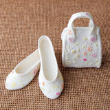 White with Floral Design Purse and Sandal Set 2
