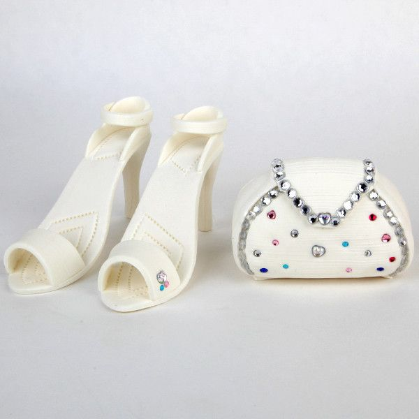 White with Colored Jewels Purse and Sandel Set