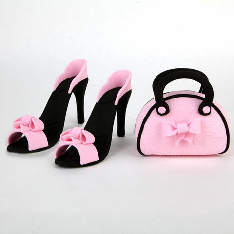 Black and Pink Purse and Sandal Set