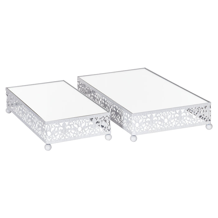 Amalfi Decor White 2-Piece Rectangular Mirror-Top Decorative Tray Dessert Stand Set