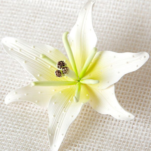 Gumpaste Stargazer Lily Sugarflower cake topper perfect for cake decorating fondant cakes & wedding cakes. Handmade ready to use.  Wholesale sugarflowers.