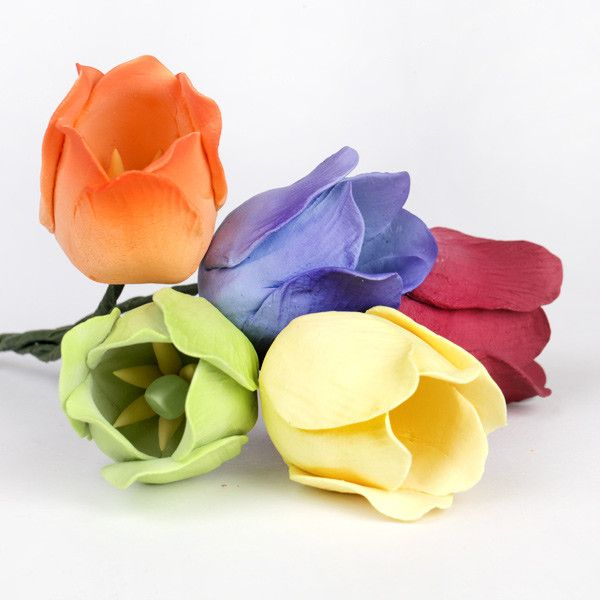 Mixed Tulip Gumpaste Sugarflower cake toppers perfect for cake decorating wedding cakes & fondant cakes. Easter cake decor.  Wholesale sugarflower.