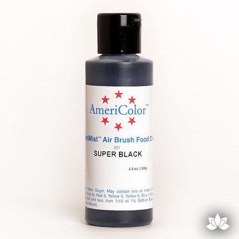 Super Black AmeriMist Air Brush Color 4.5 oz is a highly concentrated air brush color perfect for coloring non-dairy whipped icing, toppings, rolled fondant, gum paste flowers, and buttercream. Wholesale edible air brush color.