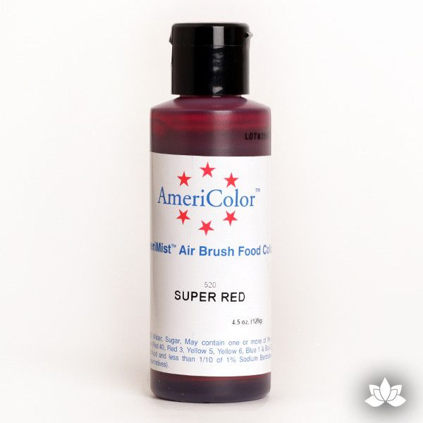 Super Red AmeriMist Air Brush Color 4.5 oz is a highly concentrated air brush color perfect for coloring non-dairy whipped icing, toppings, rolled fondant, gum paste flowers, and buttercream. Wholesale edible air brush color.