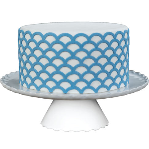 Fondant Scalloped Lattice Silicone Onlay great for making raised 3D details of lattice patterns from fondant for your cake.  Cake decorating tool from Marvelous Molds.