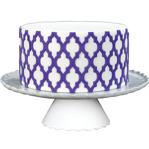 Fondant Moroccan Lattice Silicone Onlay great for making raised 3D details of lattice patterns from fondant for your cake.  Cake decorating tool from Marvelous Molds.