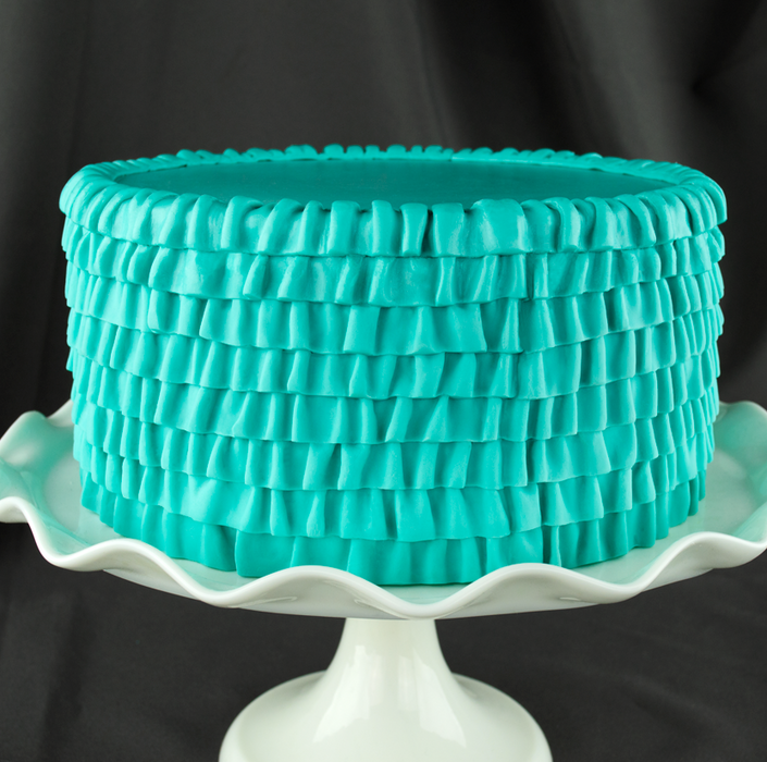 Fondant Fabric Ruffle Mold great for creating your own fondant cake border with the braided fabric ruffle texture. Cake decorating tool.