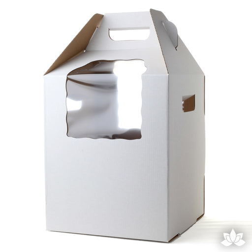 Tall Cake Box Carrier with Window great for delivering your cakes with great presentation. Store your tall cakes in this protective cake box.
