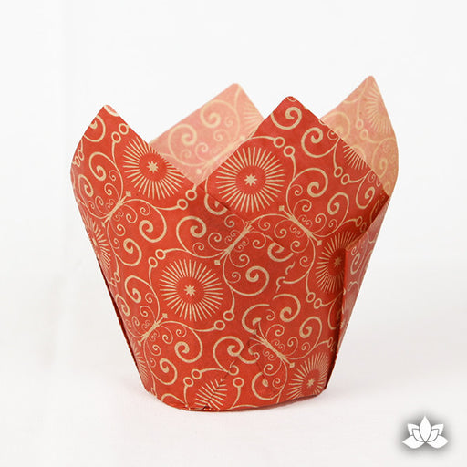 Muffin Cups - Mariposa Red