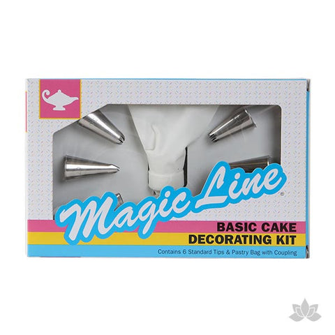 Basic Cake Decorating Kit - 6 Tips & Pastry Bag w/ Coupling