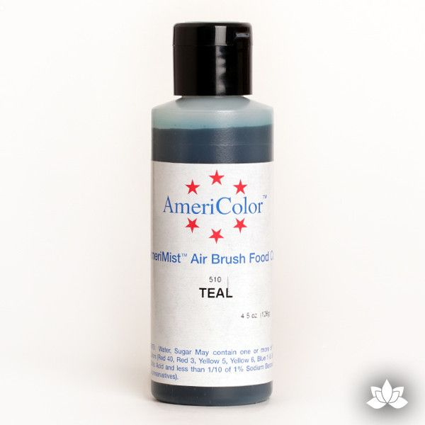Teal AmeriMist Air Brush Color 4.5 oz is a highly concentrated air brush color perfect for coloring non-dairy whipped icing, toppings, rolled fondant, gum paste flowers, and buttercream. Wholesale edible air brush color.